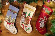 Beautiful Snowman Wreath Teddy Bear Deer Handmade Needlepoint Christmas Stocking