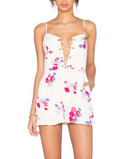 Minkpink Falling Blooms White Pink Flower Playsuit Romper Lace Up Front XS S M L