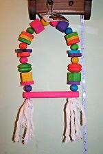 """Large SWING,Bird Cage Toy,Colorful,10"""", Wood,Blocks,Rope, Parrot,**USA Seller**"""