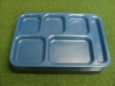 Lot of 4 used Carlisle 6 Compartment Lunch Food Trays model N43988 - color blue