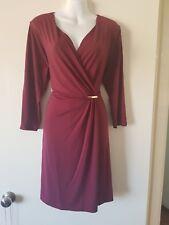 Silky Burgundy Faux Wrap Dress Sz L NEW