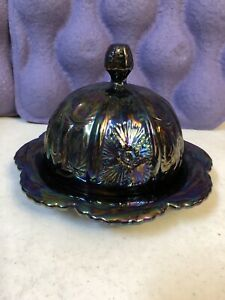 Carnival Glass Covered Candy Dish Luster Black Amethyst