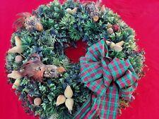 VINTAGE Christmas Wreath PARTRIDGE In PEAR TREE Feather BIRDS Door Decor Floral