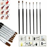Professional 7 X Nail Art UV Gel Pen Brushes Acrylic Flat Painting^ Bru Set P5J3