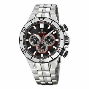 Festina Men's Watch Stainless Steel Bracelet Chronograph Black Dial F20448-4