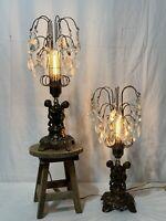 Pair Vtg Mid Century Hollywood Regency Waterfall Lamp Cherub Crystal Prism (4A)