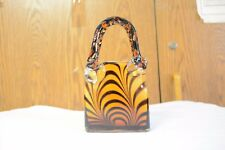 Collectible Brown Glass Handbag Trinket Jewelry Box Animal Print Used