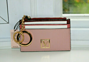 NEW Victoria's Secret The Victoria Card Case Keychain Wallet Rose Colorblock