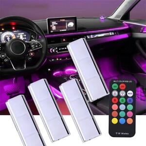 4PCS RGB Car Accessories Interior Atmosphere Lights Decor +Wireless Remote