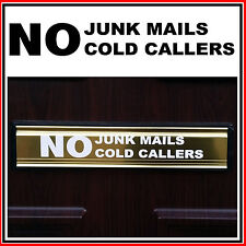 No Junk Mails Cold Callers Letterbox Sticker Vinyl Decal Door Signs (STKCN00015)