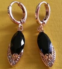 F12 Black marquise sapphires 18ct yellow gold GF huggie hoop drop earrings BoXeD