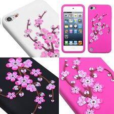 iPod Touch 5th Gen - Soft Silicone Rubber Case Cover Pink Spring Blossom Flowers