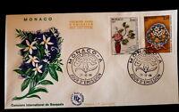 MONACO PREMIER JOUR FDC YVERT  1551/52    BOUQUETS DE FLEURS   3,90+2,20F   1986