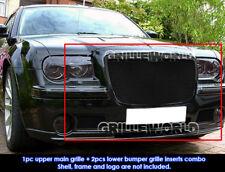 SS 1.8mm Black Mesh Grille Combo For 05-10 Chrysler 300C