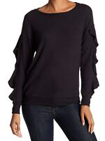 Harlowe & Graham Womens Sweater Black Size Small S Ruffle Pullover $52- 293