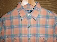 2009 Mens Polo Ralph Lauren Western Pearl snap Button Front Shirt Size Small