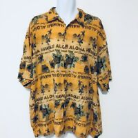 Puritan Mens Shirt Sz 2XL Yellow Floral Aloha Short Sleeve Hawaiian Button BA28