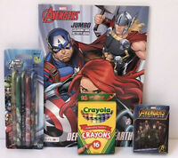 4 Pc Set Avengers Jumbo Coloring Activity Book Crayons Playing Cards Gel Pens