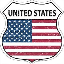 """United States US Flag 11"""" Die Cut Highway Shield Metal Signs Man Cave Wall Decor"""