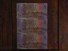 3x 2006 Australia $5 FIVE DOLLARS MACFARLANE/HENRY CONSECUTIVE UNC Notes