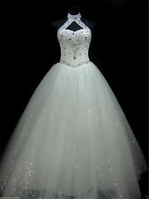Bling Beaded Wedding Dress White/Ivory Bridal Ball Gown Custom Size 4-26+++