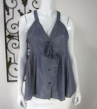 Marc By Marc Jacobs Sleeveless Blouse Size 12 Solid Blue Metallic V Neckline 120