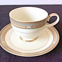 MIKASA ISLE TAUPE SHELL COASTAL THEME COFFEE TEACUP SAUCER SET#L3209 BASKARA