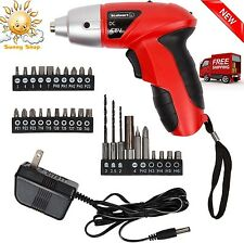 Cordless Li-Ion Electric Screwdriver LED Bit Drill Set 4.8 V Rechargeable Power