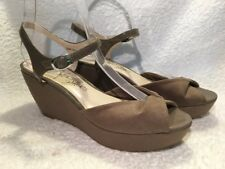 MARKS & SPENCER M&S taupe brown peep toe wedge sandals UK 6 NEW