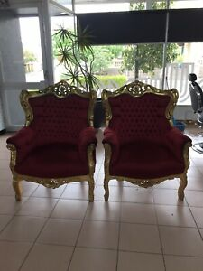 Antique Grandfather Chairs x 2