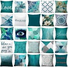 "16x16"" Throw PILLOW COVER Teal Blue White 2-Sided Decorative Gray Cushion Case"