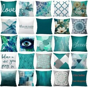 """16x16"""" Throw PILLOW COVER Teal Blue White 2-Sided Decorative Gray Cushion Case"""