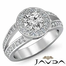 Halo Pave Round Diamond Engagement Javda Ring GIA F VS1 14k White Gold 2.05ct