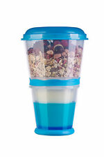 Cereal Mug To Go Snack Bar Blue With Milk Cooling Compartment Yoghurt Folding Spoon Muesli 2 Go