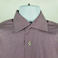 Peter Millar Mens Purple Brown Mini Check Dress Button Shirt Sz Medium M