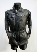 Vintage Sweden 80´S Black Biker Jacket Leather Womens Retro Racer Zip 36 EU M