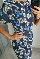 Asos butterfly print stunning short sleeve dress V back size UK 8