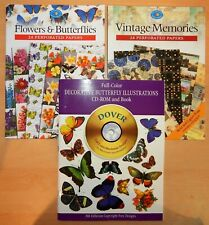 THREE (3) CRAFT BOOKS (2 PERFORATED PAPERS & 1 DECORATIVE BUTTERFLY + CD)
