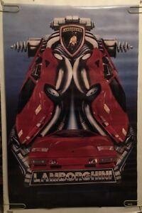 Lamborghini Countach Original Vintage Poster 1986 Funky Race Car Pin-up Red