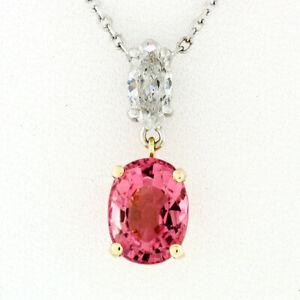 14k TT Gold 1.53ct Oval Pink Tourmaline Marquise Diamond Dangle Pendant Necklace