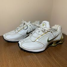 2006 NIKE SHOX Womens 7.5 Vintage Metallic Gold White Running Shoes 314775-171