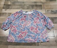 Chaps Plus Adult Womens Size 2X Regular Floral Print 3/4 Sleeve Multicolor Top