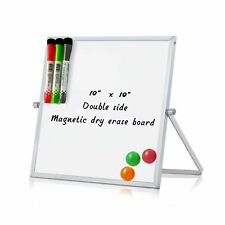 Merlerner 10 X 10 Magnetic Small Dry Erase White Board With Stand Adjustabl