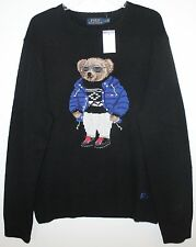 Polo Ralph Lauren Mens Black RL Polo RLX Ski Bear Wool Sweater NWT $395 S