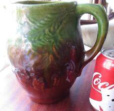 "Antique Majolica Pitcher Stoneware Pottery Brown & Green Branch Pine Cones 7.5"""