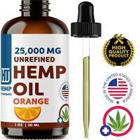 Orange Hemp Oil For Pain Relief Anxiety, Sleep 1 oz 25 000 mg