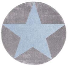 Kinderteppich Happy Rugs Star Silbergrau/blau 133cm rund