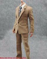 "1/6 Scale Men White Shirt Pants Tie Suit Clothes Set For 12"" Male Body Hot Toys"