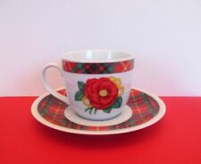 Holly Holderman Red and Green Plaid Porcelain Cup and Saucer Set