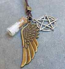 SUPERNATURAL Protection LEATHER Necklace Angel Wing Pentagram Rock Salt Bottle